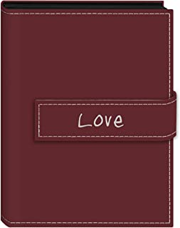 Pioneer Photo Albums 36-Pocket 5 by 7-Inch Embroidered Love Strap Sewn Leatherette Cover Photo Album, Mini, Burgundy