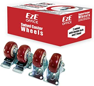 Caster Wheels 2 Swivel Casters 2 Swivel with Brake On Red Polyurethane Wheels 1200 Lbs 3 inch 4 Pack