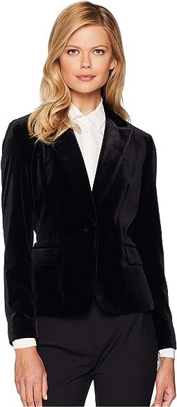 One-Button Velvet Jacket