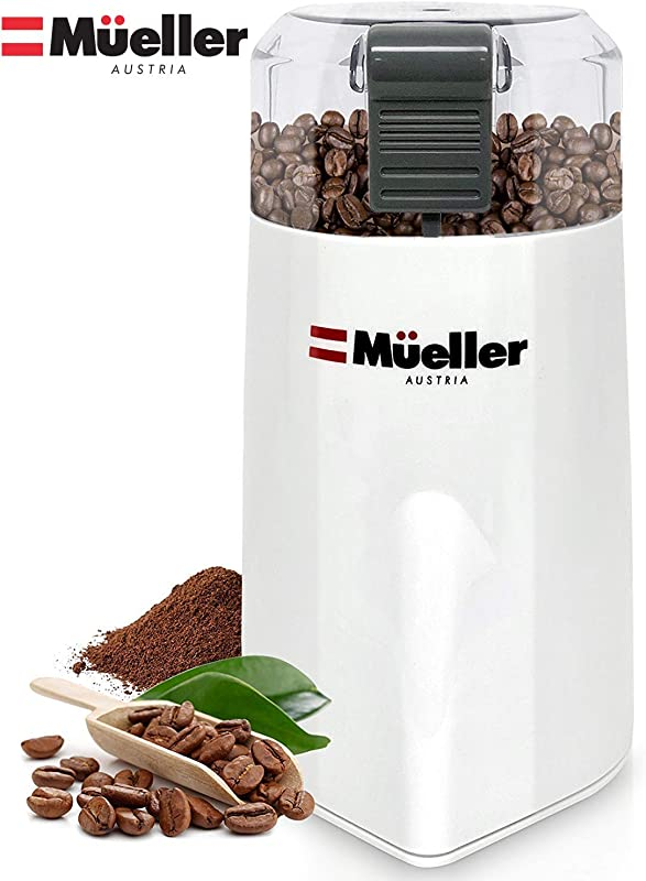 Mueller Austria HyperGrind Precision Electric Coffee Grinder Mill With Large Grinding Capacity And HD Motor Also For Spices Herbs Nuts Grains And More And More White