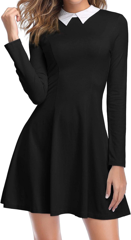 ZABERRY Women's Long Sleeve Peter Pan Collar Above Knee Aline Halloween Dress