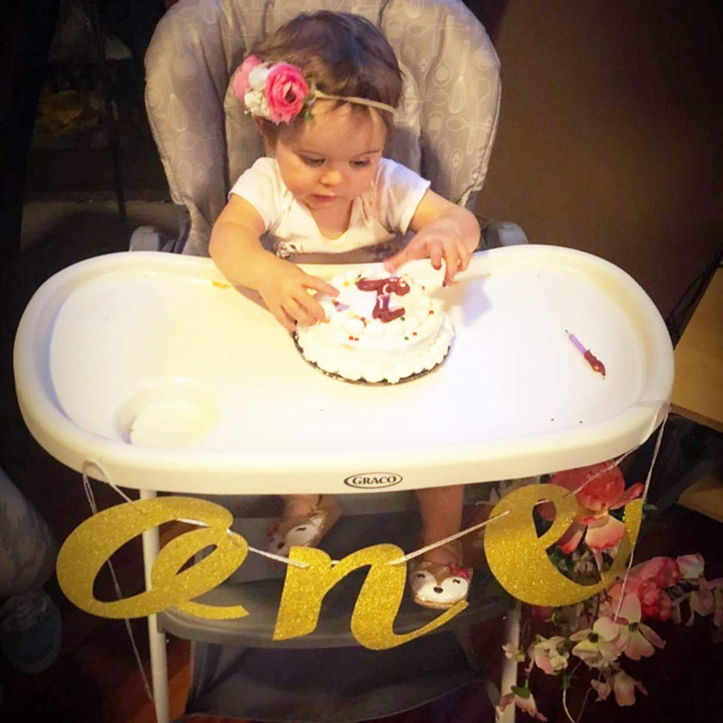 Honbay Baby 1st Birthday Party Decoration High Chair Glitter Gold ONE Banner