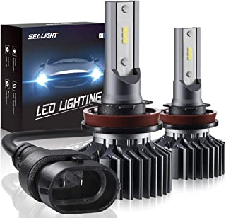 SEALIGHT H11/H8/H9 LED Headlight Bulbs Conversion Kit, S1 Series 12x CSP Chips Low Beam/Fog Light Bulb - 6000LM 6000K Xenon White