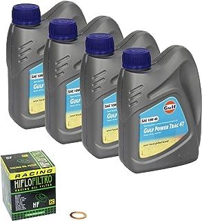 Golfo Trac de energía (10 W – 40 – Kit de llenado de aceite para Suzuki Bandit 650 S ABS (GSF 650) construir Fecha 05 – 13 cromo Aceite y aceite HiFlo Eje ...
