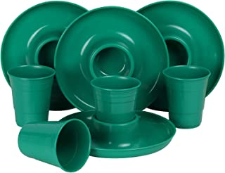 GreatPlate GP-GCP-GRN-4x4AZ Green Combo Pack, 4 Green GreatPlates, Food Tray and Beverage Holder, 4 Green GreatCups, Dishwasher Safe, Microwave Safe, Made in USA, Picnics, Parties, Tailgates, Appetizers, Great for Kids