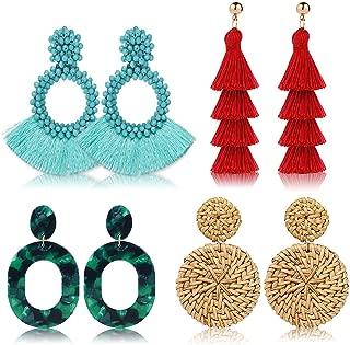 4 Pairs Set,Handmade Rattan Earrings Straw Wicker Braid Drop Dangle,Hoop Tassel Earrings for Women,Acrylic Earrings Lightweight Geometric Statement Earrings, for Women Girls