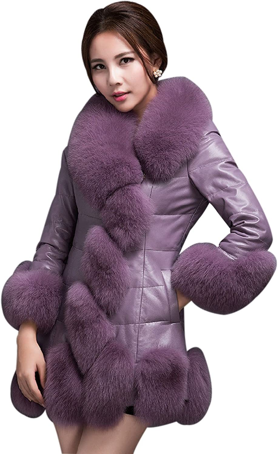 Yeokou Women's Long Faux Fur PU Leather Quilted Cotton Padded Jacket Parka Coat
