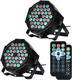 LUNSY DJ Par Lights, 36LEDs Stage Lighting Par Can Controlled by Remoter and DMX Control - 2 Pack