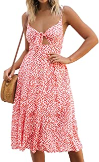 Symptor Women's Strappy V Neck Sundress Tie Knot Keyhole Button Down Fit and Flare Dress