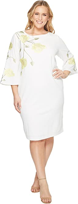 Plus Size Embroidered Floral Sheath Dress