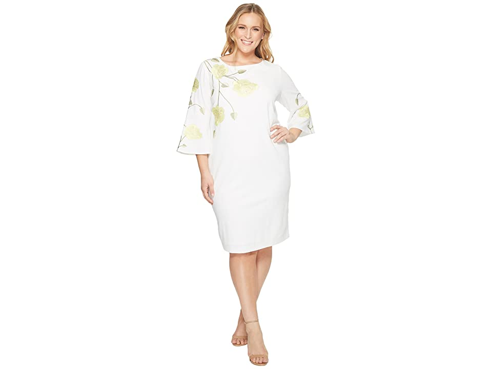 Tahari by ASL Plus Size Embroidered Floral Sheath Dress (White/Citron/Green) Women