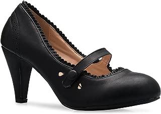Olivia K Women's Round Toe Mary Jane Pumps Heels - Unique Vintage, Adjustable Strap