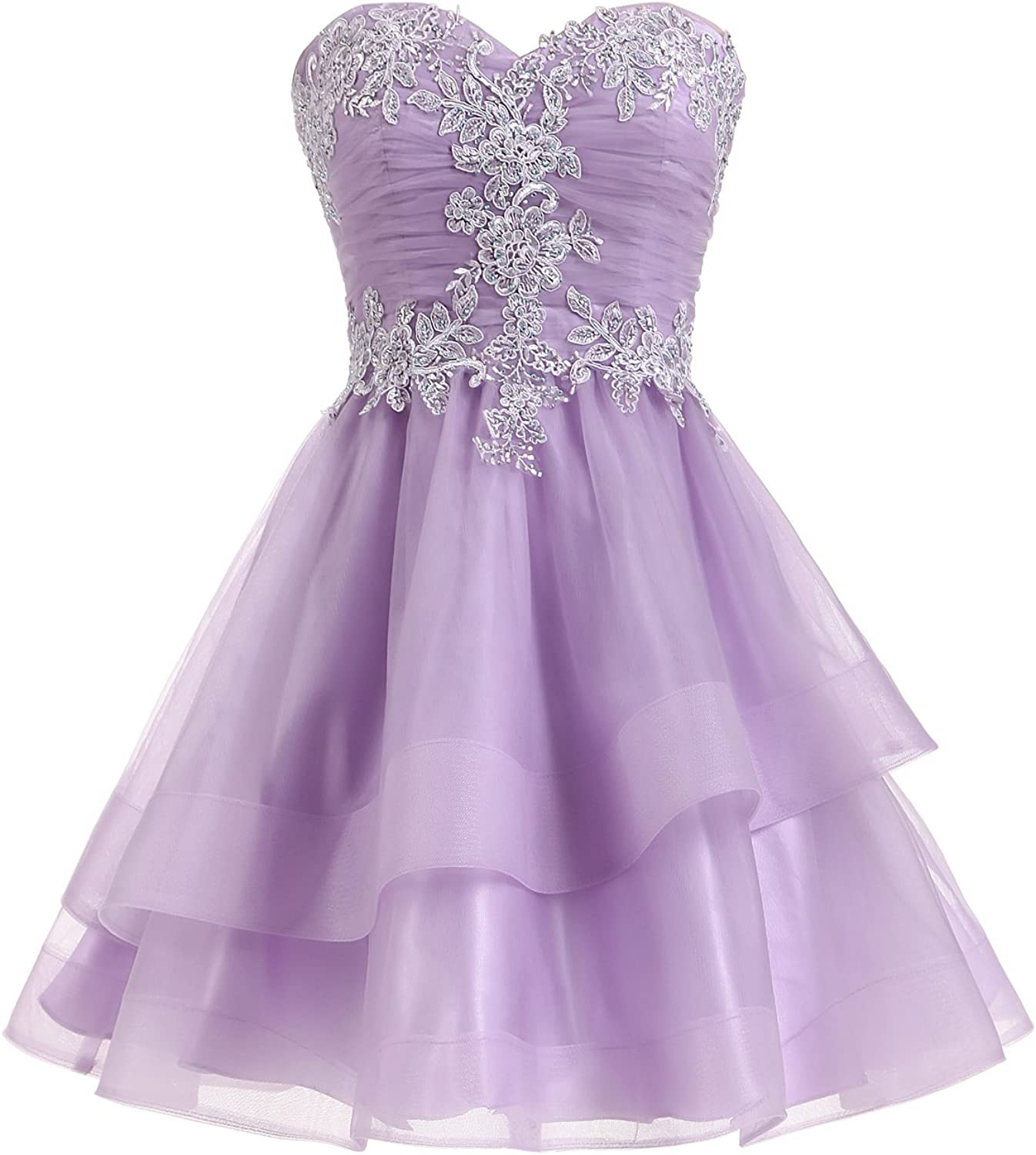 Epinkbridal Lace Applique Short Prom Gowns for Women Quinceanera Homecoming Dresses