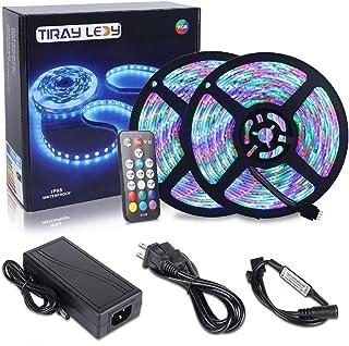 comprar comparacion 10M Tiras LED RGB 3528 600 Leds, IP65 Impermeable Multicolor Tira LED de Luces LED Kit Completo (Sin color blanco)