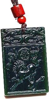 Yigedan Women Mens Natural Chinese Dark Green Horse Handmade Gemstone Necklace