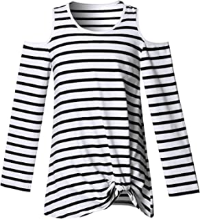Perfashion Cold Shoulder Long Sleeve Tops for Girls Twist Knot Front Cutout Striped Shirts