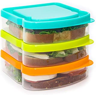 RubyPack-Sandwich Container-3 Pack-Durable Plastic Sandwich Box-Reusable Sandwich Containers with Lids-Small Lunch Box for Snacks-School Breakfast-Lunch Sandwich Holder-Sandwich Keeper Case for Kids