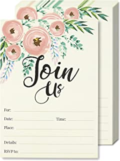 Best Watercolor Join Us Invitation Cards - 50 Fill-In Floral Classy Invites with Envelopes for Kids Birthday, Bridal Shower, Wedding, 5 x 7 Inches, Postcard Style Reviews