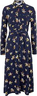 Marks & Spencer Women's Floral Belted Midi Shirt Dress, NAVY MIX