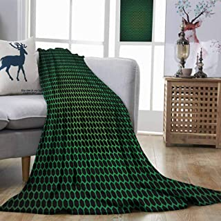 DILITECK Forest Green Super Soft Blanket Geometrical Honeycomb Pattern with Polygons Technology Themed Grid Mesh Tile Easy Travel Green Black W93 xL71