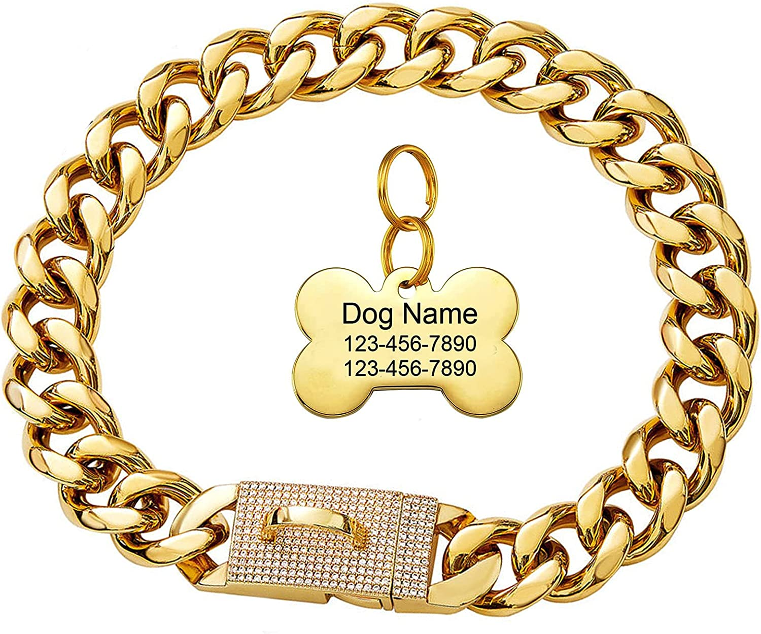 18k Gold Recommended Dog Chain Collar with Special Campaign Strong S Lock Diamond