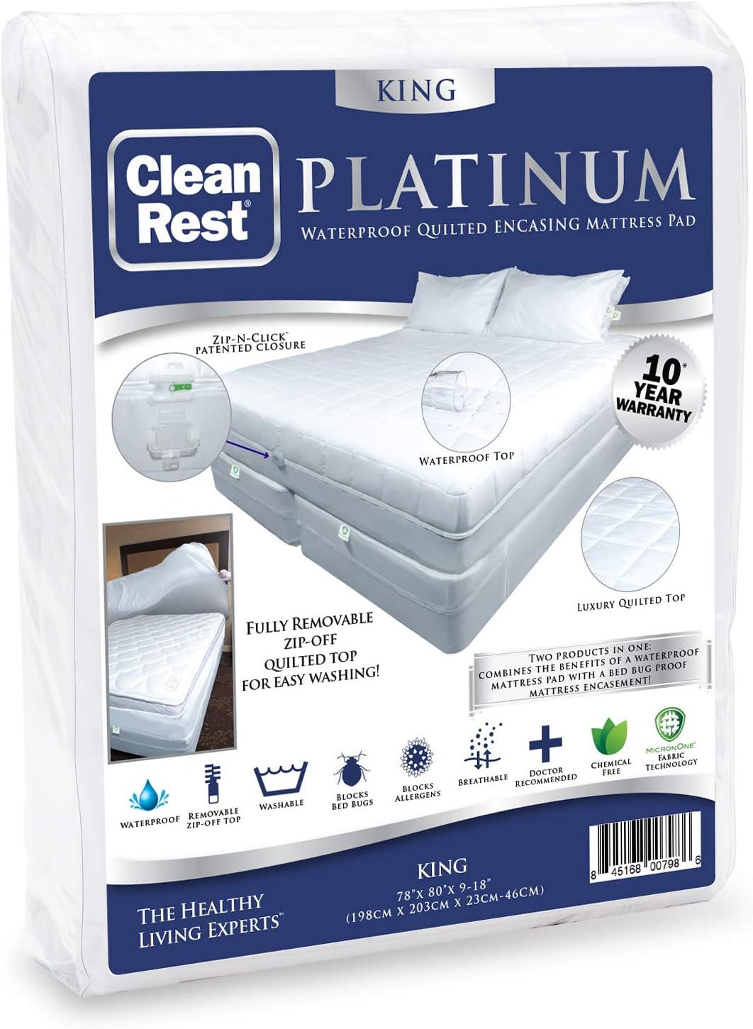 Amazon Com Cleanrest Platinum Waterproof Quilted Mattress Pad Encasement King White Home Kitchen