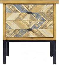 Heather Ann Creations Barnes 2 Drawer Distressed Parquet Accent Cabinet, Gray