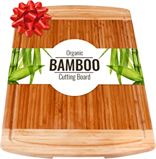 Large Wood Cutting Board with handles & Juice Groove for Carving Vegetables or Meat Serving Tray for Cheese or salami