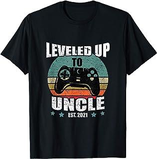 Homme Drôle Je Serai Un Oncle Cadeau Leveled Up To Uncle 2021 T-Shirt