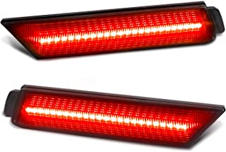 RUXIFEY Smoked Lens LED Side Marker Lights Rear Bumper Sidemarker Lamps Reflectors Compatible with 2010 to 2015 Chevy Camaro Red- Pack of 2