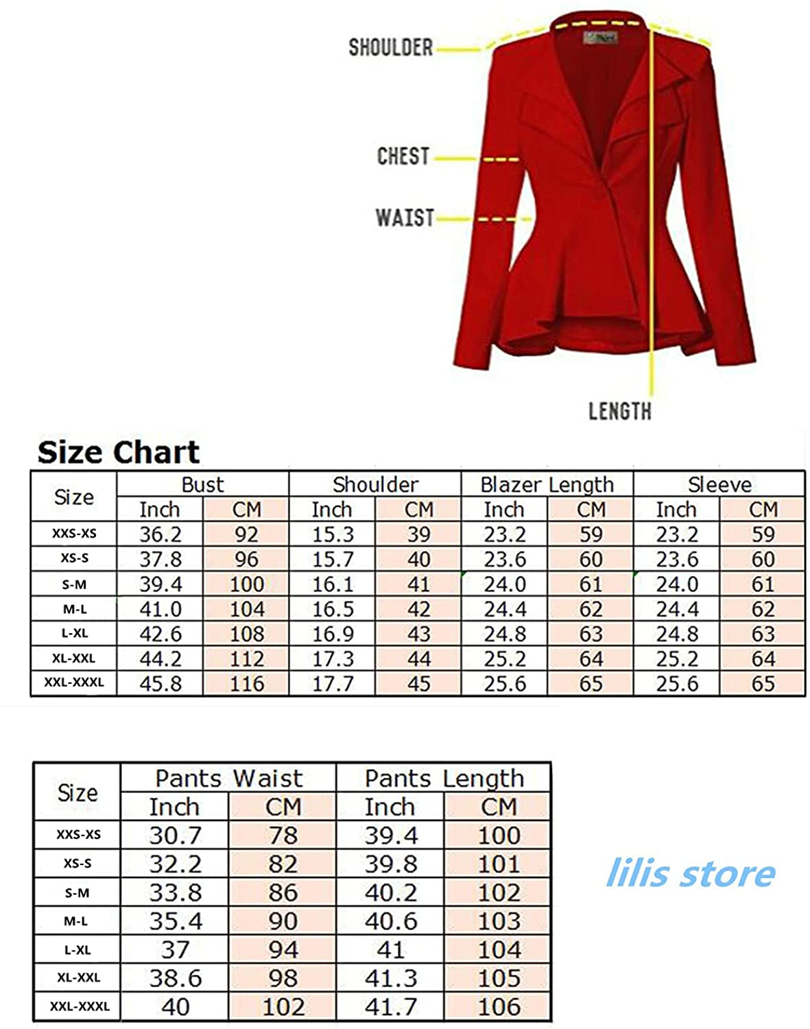 Women's Slim Fit 3 Piece Suit Work Office Outfit Long Sleeve Solid Blazer with Pants