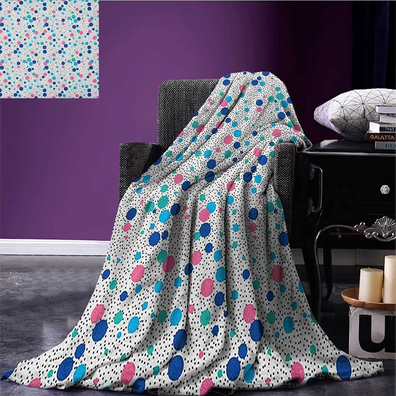Abstract Throw Blanket Cute Dots Little Circles with Bunch of Spots Background Girlish Abstract Design Miracle Blanket Multicolor Size 59 x35.5
