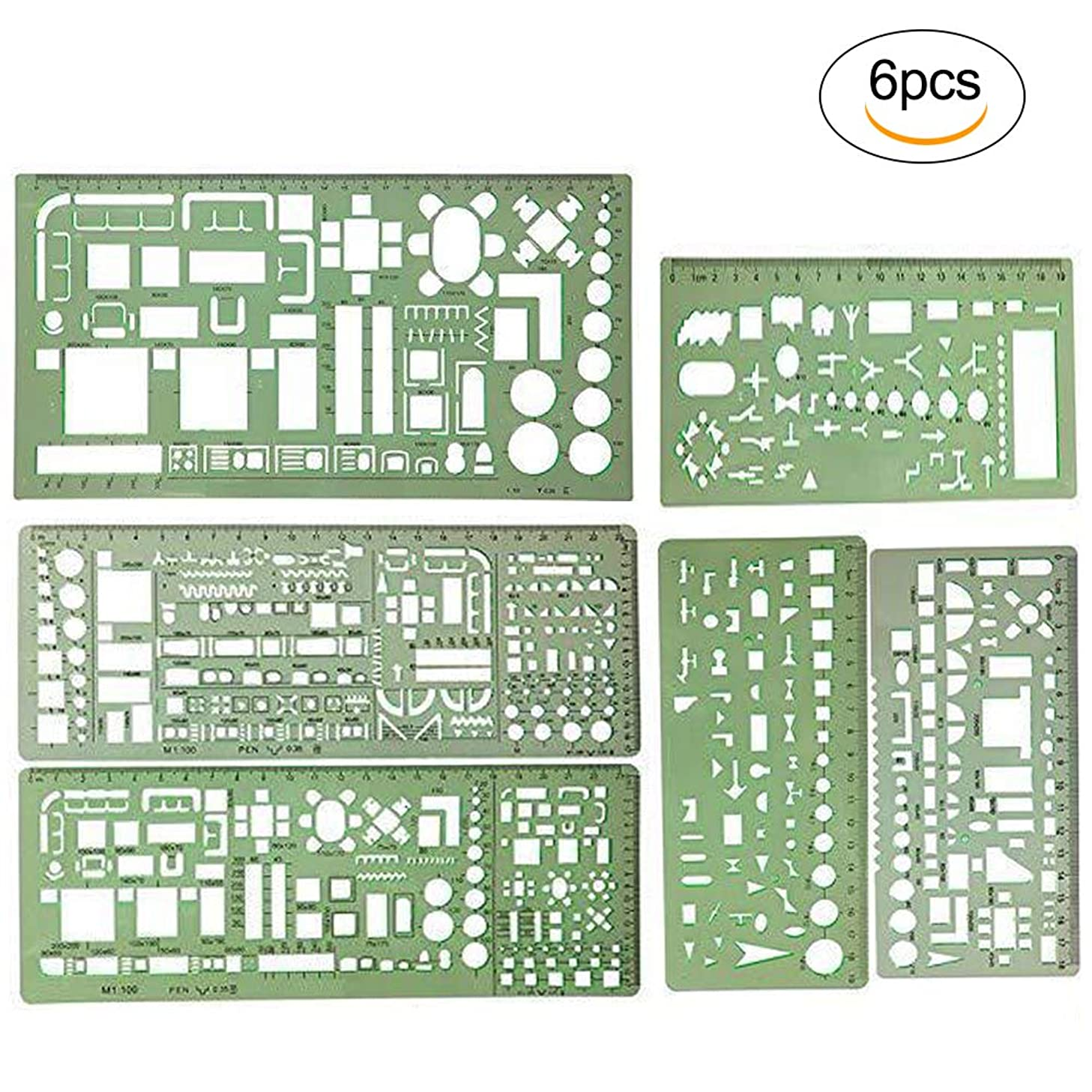 6 Pieces Geometric Drawings Templates Measuring Rulers,Building Formwork,Drawings Templates,Circle Template,Plastic Ruler.for Engineering Drawings,School,Home Office Drawing Supplies (Green)