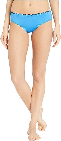 Fort Tilden Contrast Scalloped Hipster Bikini Bottoms