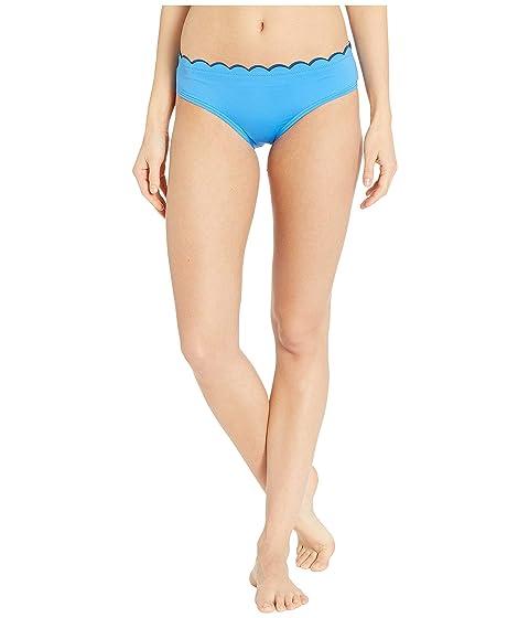 Kate Spade New York Fort Tilden Contrast Scalloped Hipster Bikini Bottoms