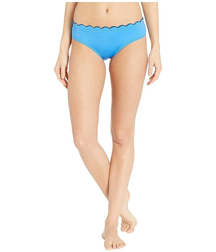 Kate Spade New York Fort Tilden Contrast Scalloped Hipster Bikini Bottoms (Riviera Blue) Women