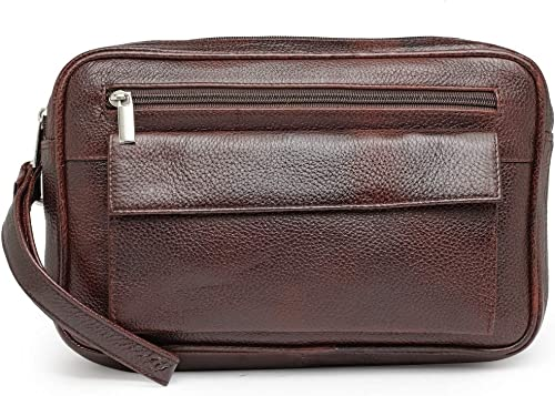 Teakwood Genuine Leather Cash Pouch/Money Carrying Pouch/Handbags/Multipurpose Travel Pouch