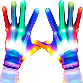 2 Pair Light Gloves LED Flashing Gloves Halloween Party Rave Glow Gloves 5 Color 6 Mode Flashing Glow in The Dark Party Supplies Favors for Clubbing Birthday Lightshows Dancing EDM Disco Dubstep Party