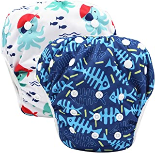 storeofbaby Reusable Swim Diapers Covers Waterproof Swimming Pants for 8-36lbs Unisex Baby Pack of 2, Blue White, One Size