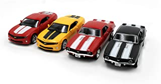 Just For Laughs Camaro Vehicle 4 Pack, Official Diecast 1969 Classic Camaro (Red+Black) 2010 Camaro (Red+Yellow)