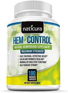 Hem-Control Natural Hemorrhoid Treatment Supplement - Fast & Lasting Pain Relief Pills - Vegan Capsules for Hemroid & Colo...