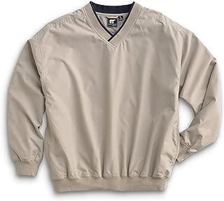Men's Fully Lined V-Neck Golf and Wind Shirt - Putty/Navy, Medium