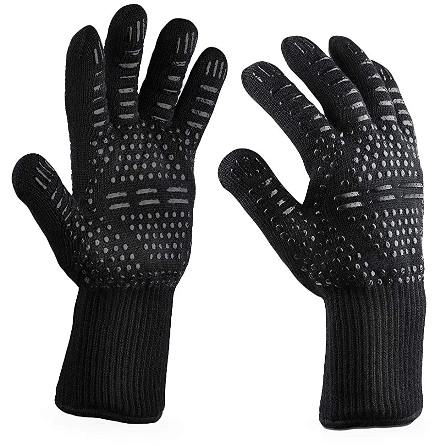 Daqin Centigrade Extreme Heat Resistant BBQ Gloves Lining Cotton for Cooking Baking Grilling Oven Mitts Kitchen Accessories Cooking (Color : H)