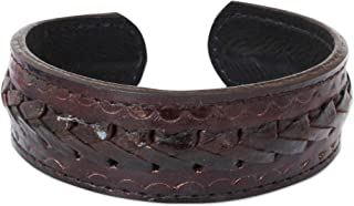 NOVICA Stainless Steel Leather Men's Cuff Bracelet 'Brown Braided Path'