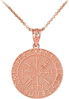 Certified 10k Gold Viking Odin Symbol Rune Amulet Pantgram Vegvisir Compass Pendant Necklace