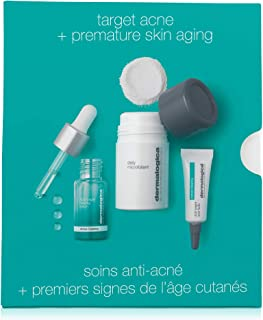 Dermalogica Clear and Brighten Kit - Set Contains: Face Exfoliator, Face Serum, and Acne Spot Treatment - Maintains Consis...