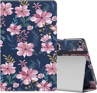 NEW-Fire HD 10 ケース - ATiC Fire HD 10 タブレット (Newモデル) 2017用 全面保護型 薄型スタンドケース Blue & Pink Flower