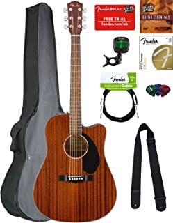 Fender CD-60SCE Dreadnought Acoustic-Electric Guitar - All Mahogany Bundle with Gig Bag, Tuner, Strap, Strings, Picks, Austin Bazaar Instructional DVD, and Polishing Cloth