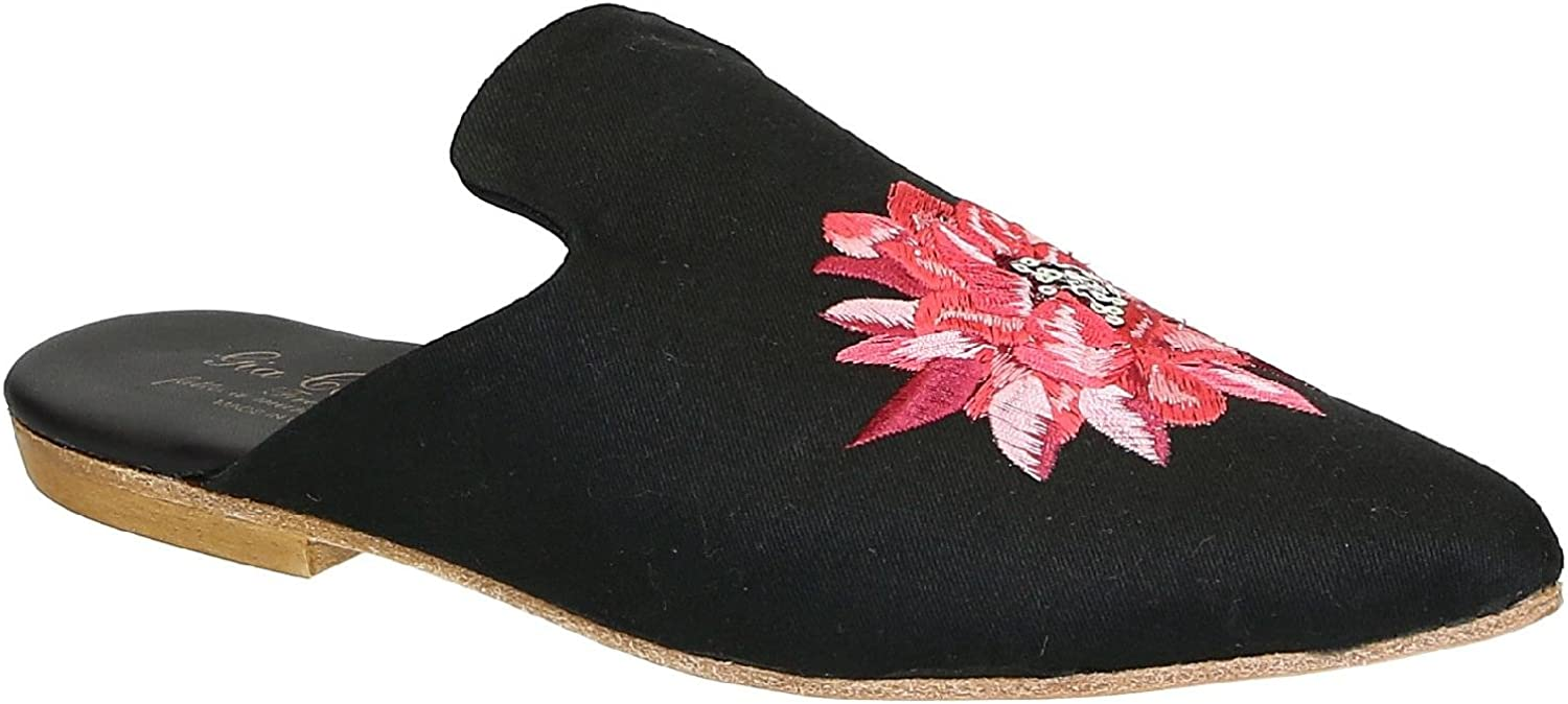 Gia Couture Women's Black Fabric Slippers