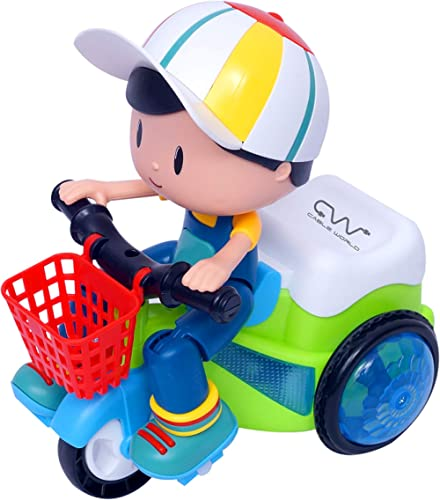 Cable World® Stunt Tricycle Bump and Go Toy with 4D Lights, Dancing Toy, Battery Operated Toy - Multi Color